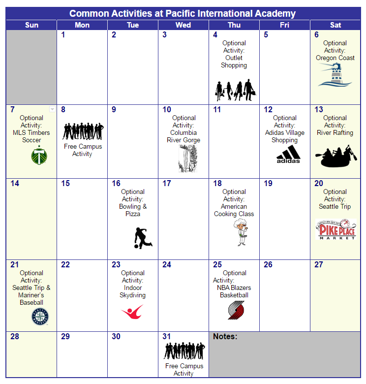 Sample Activities Calendar